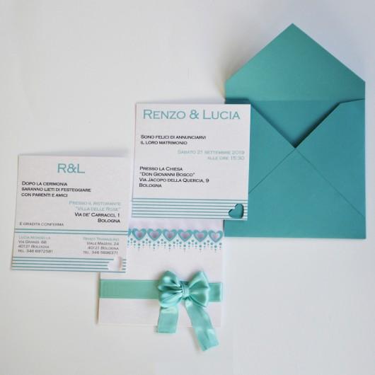 Partecipazioni Matrimonio Color Tiffany.Partecipazione Stile Tiffany Con Cuori Intagliati